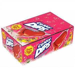 24 x Strawberry Crazy Dips Chupa Chups Lolly & Popping Candy Sweets 14g Wholesale Box